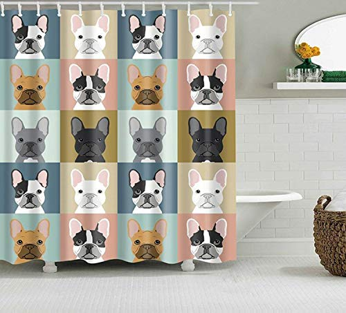 Shower Curtain 48x72 Inches Frenchie French Bulldog Shower Curtain Colorful Cute Dog Pet Fabric Bathroom Curtain Home Bathroom Decor Dog Lovers Housewarming Gift for Camper
