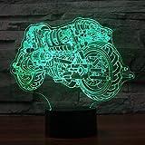 Foto para Frauen Cool Botorcycle Modelo 3D noche luz con interruptor táctil LED 3D lámpara de mesa colorido bebé sueño ambiente iluminación decoración del hogar erjie