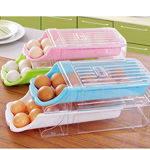 MeterMall Aufbewahrungsbox für Kühlschrank, Schublade aus Kunststoff, Eier-Halterung blau