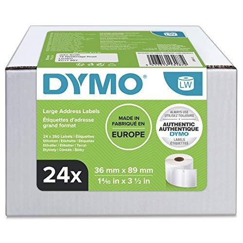 Große DYMO LW-Adressetiketten | 36mm x 89mm | 24Rollen mit je 130leicht ablösbaren Etiketten (3.120Etikettenband) | selbstklebend | für LabelWriter-Beschriftungsgeräte | authentisches Produkt