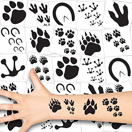 German Trendseller® Tierspuren Kinder Tattoos - Set ┃ Neu ┃ Fährten und Pfoten Spuren ┃ Kindergeburtstag ┃ Mitgebsel ┃12 Tattoos