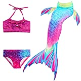 Hejin Mädchen Meerjungfrauenschwanz 3pcs Meerjungfrauen Bikini Kostüm Meerjungfrau Schwimmanzug