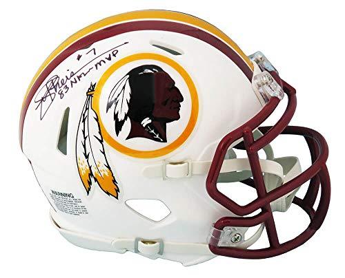 Joe Theismann Signed Washington football team Flat White Matte Riddell Speed Mini Helmet w/83 NFL MVP