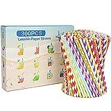 LessMo Pajitas de papel, 300 PCS pajas de beber reciclables | Ideal para cócteles, bebidas frías y...
