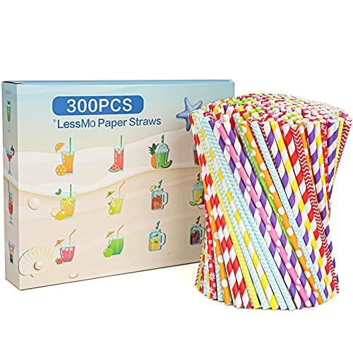 LessMo Pajitas de papel, 300 PCS pajas de beber reciclables | Ideal para cócteles, bebidas frías y jugos | Adecuado para fiestas, bodas y todas las ocasiones
