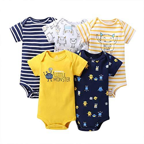 Odziezet-Baby Kinder Strampler Kurze Kletterkleidung Kurzarm Mehrfarbige Baumwollebekleidung 5 Pckung Set für Kinder 3-24 Monate im Sommer