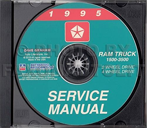 1995 DODGE RAM TRUCK & PICKUP REPAIR SHOP & SERVICE MANUAL CD Including 1500, 2500, 3500, LT, ST, SLT, Work Special 2WD, 4WD, gasoline and diesel engines