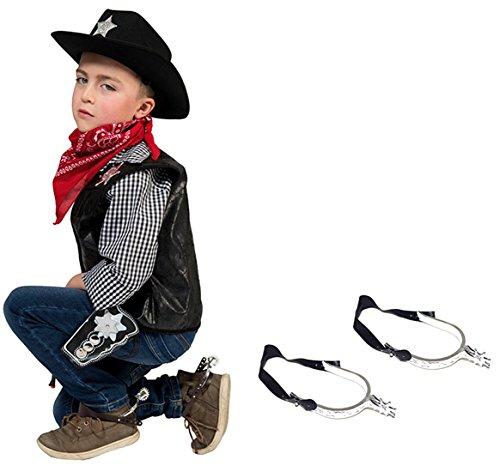 erdbeerclown - Sporen Kinder Cowboykostüm Sheriff Cowboystiefel Schmuck, Schwarz