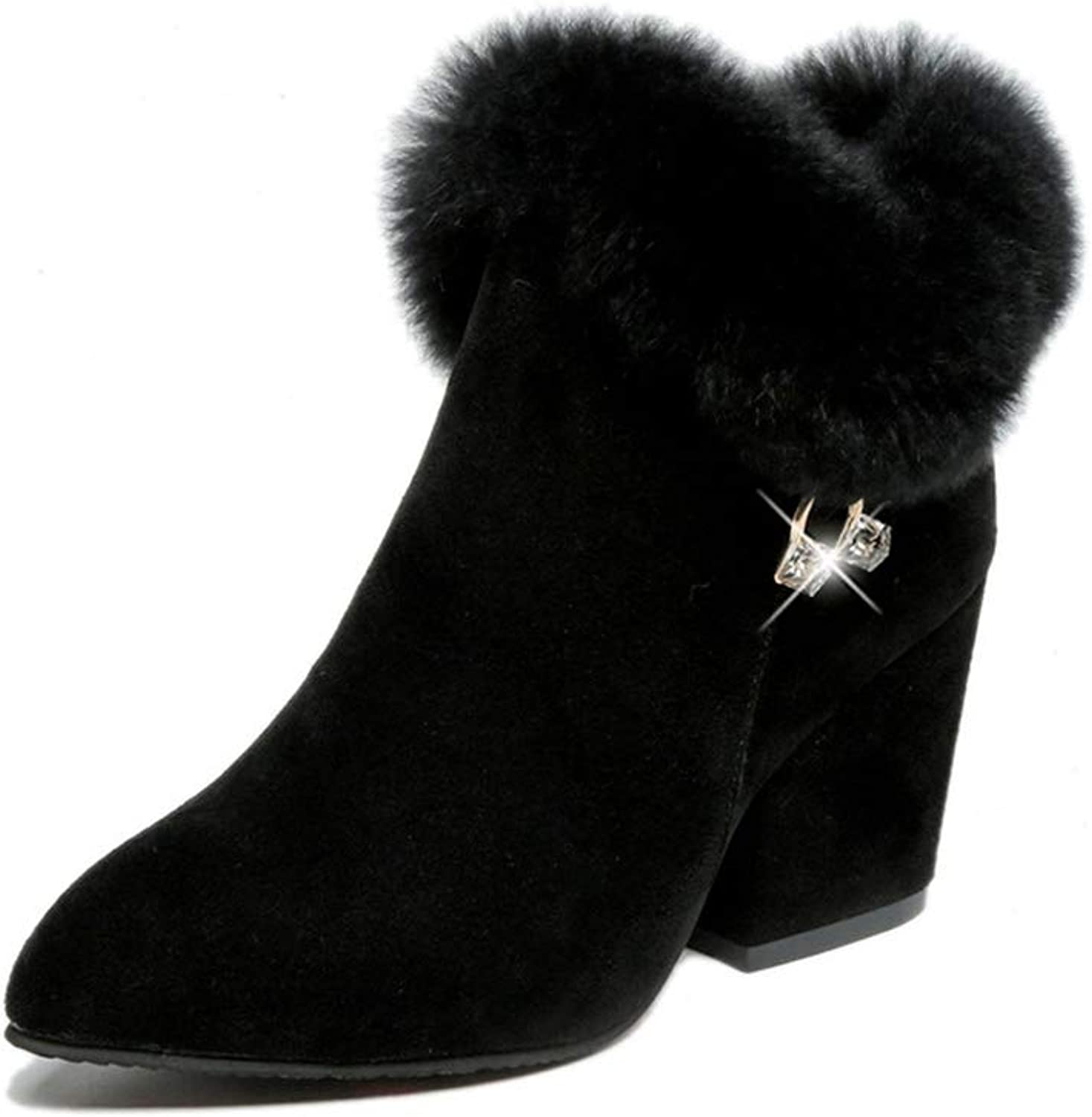 High-Heeled Ankle Boots Female Winter Thick with Rhinestones Furry Martin Boots