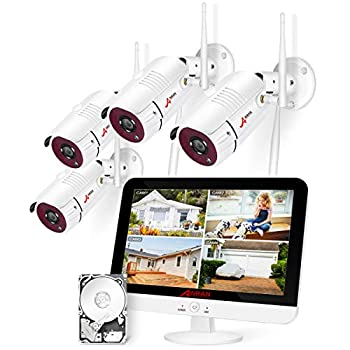 [8CH Expandable] ANRAN All-in-one Wireless Security Camera System with 13   LCD Monitor 8CH 1080P WiFi NVR Kits Pre-Install 1TB Hard Drive and 4pcs Outdoor Cameras with Night Vision/Motion Detection