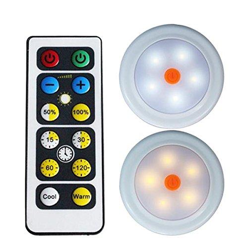 NHDY 2pcs de contrôle Distant LED Cabinet Armoire pâmoison Alimentation Batterie Blanc/Chaud Timing Blanc Dimmable 0910 (Color : 2)