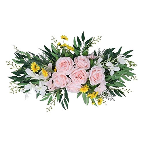 JXHYKJ Artificial Rose Flower Swag Hanging Greenery Wreath for Home Party Front Door Window Wall Tabletop Wedding Arch Decor