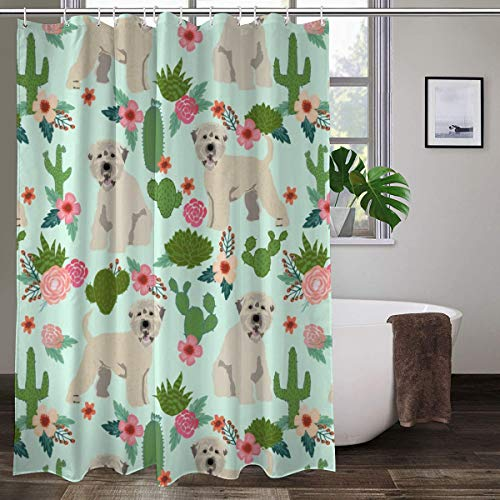 irish wheaten cactus floral soft coated wheaten terrier dog cactus florals mint Colorful Shower Curtain Bathroom Polyester Fabric Liner Shower Curtain with Hooks 60' W x 72' H