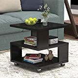 Jerry & Maggie - Magic Cube Nightstands Japanese Tatami Classic Modern Fashion Style - 2 Tier Rectangle Hallow Design Night Stand Storage Bedside Table Storage Black