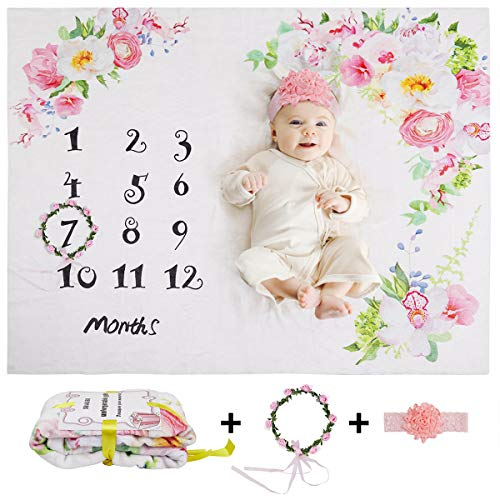 Baby Monthly Milestone Blanket Girl - Soft Floral Flannel Fleece Baby Photo Blankets, Baby Girl Milestone Blanket for Newborn Baby Shower, Includes Headband, Wreath and Frame