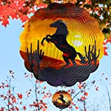 """Wind Spinners Home Garden Decor, Patio Yard Backyard Outdoor Art Outside Decorations 3D Horse Metal Stainless Steel Decoration, 12""""Wind Spinner Gifts for Lawn Hanging Pinwheels Crafts Ornaments"""