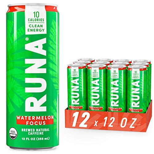 Organic Clean Energy Drink by RUNA, Watermelon Focus   Refreshing Tea Taste   10 Calories   Powerful Natural Caffeine   Healthy Energy & Focus   No Crash or Jitters   12 Oz (Pack of 12)