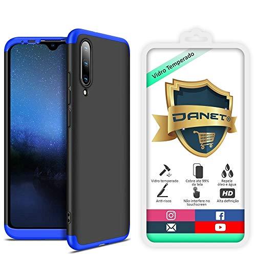Kit Capa Capinha Anti Impacto 360 Full Para Xiaomi Mi A3 e Cc9e - Case Acrílica Fosca Com Película De Vidro Temperado - Danet (Preto com azul)