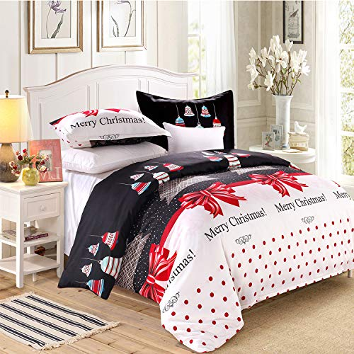 LAMEJOR Duvet Cover Sets King Size Christmas Theme / Christmas Tree / Bells Pattern New Year Holiday Season Luxury Reversible Bedding Set Comforter Cover(1 Duvet Cover+2 Pillowcases)