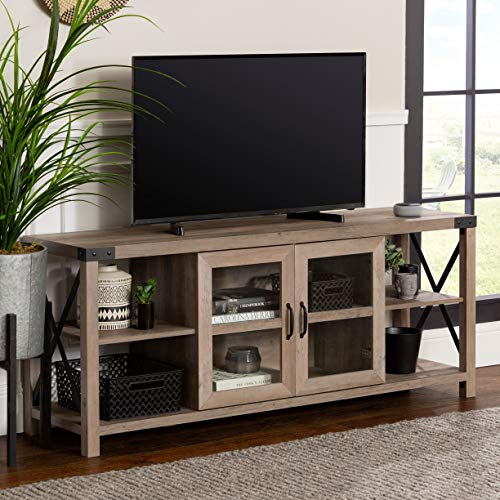 """Walker Edison Modern Farmhouse Metal X Wood Stand Storage Cabinet for TV's up to 64"""" Living Room (60 Inch) - Gray Wash -  W60MX2DGW"""