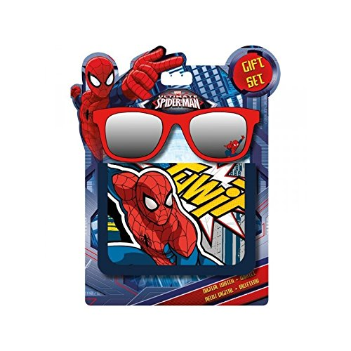 Disney Spiderman cartera + Spiderman gafas de sol, MV92281, azul y rojo