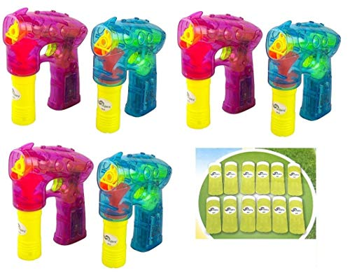 Oojami 6 Pack Bubble Gun Shooter with LED Lights Bubble Blaster Ideal for Party Favors, Indoor and Outdoor Toys, Birthday Gifts, Bubble Toys for Boys and Girls of All Ages