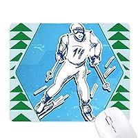ウィンタースポーツスノーボードコンテストのイラスト オフィスグリーン松のゴムマウスパッド