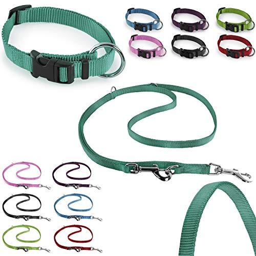 CarlCurt - Classic Line: Hundehalsband & Hundeleine Im Set, Aus Strapazierfähigem Nylon, XS 22-35cm & XS 1,90m, Grün