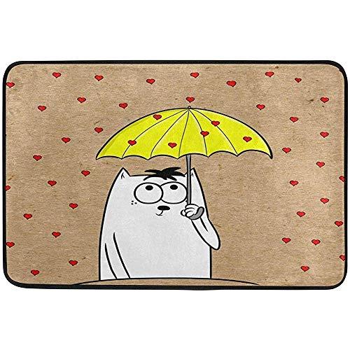 Gato blanco Paraguas Lluvia Alfombrillas para puerta al aire libre Zapatos Raspador Entrada delantera Exterior Amarillo Rojo Corazón Felpudo Alfombra para patio Suciedad Escombros Barrera de barro