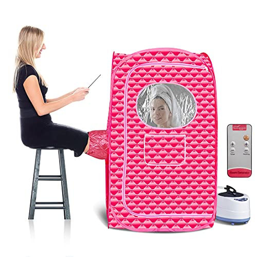 sauna portatile a vapore, sauna finlandese da esterno, máquina de SPA de Sauna con Silla Plegable, 1000W de alta potencia, temperatura de 9 niveles ajustable generador de Vapor de 2L(Size:nosotros)