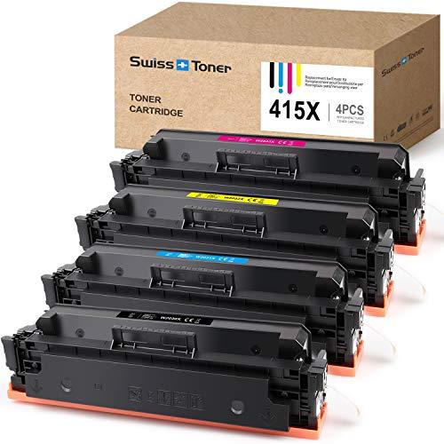SWISS TONER Kompatibel für HP 415X W2030X |Ohne Chip| Tonerkartuschen für HP Color Laserjet Pro M454dn M454dw MFP M479dw M479fdn M479fdw(Schwarz Cyan Magenta Gelb)