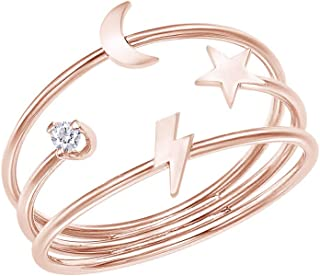Samaira Jewelry Natural Diamond Accent Dainty Lightning Bolt, Moon & Star Three-Band Ring in 14K Gold Plated 925 Sterling Silver For Women (0.04 Cttw, I-J Color, I2-I3 Clarity)