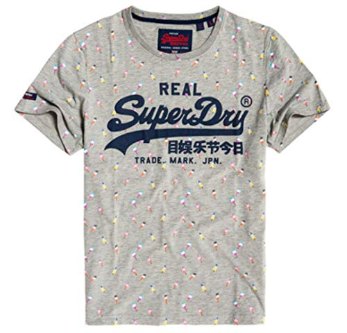 Superdry Vintage Logo AOP Mid Tee Pull sans Manche, Gris (Grey Marl 07q), XX-Large (Taille Fabricant: 2XL) Homme