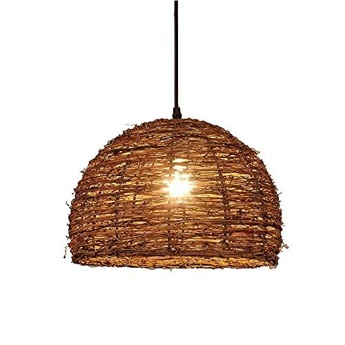 WANGYAN Lámpara Colgante De Mimbre Retro Corridor Wove Lantern Luz Única Lámpara De Techo De Ratán Accesorio De Colgantes Iluminación Colgante con Forma De Ratán para Comedor En La Casa De Té