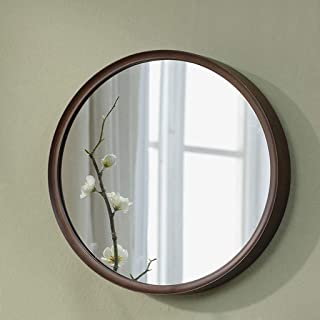 MXD Mirror Wooden Bedroom Mirror Bathroom Mirror Vanity Mirror Wall Mirror Makeup Mirror Round Mirror Hanging Mirror Decorative Mirror (Size : S)
