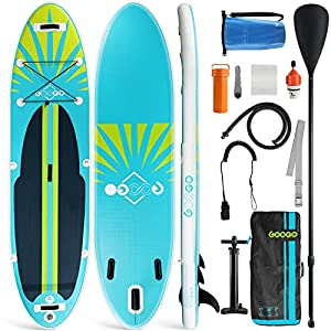 """【Stable & Portable Sup Paddle Board】Googo blow up paddle board dimension is 10'6""""x32""""x 6"""". The extra-wide and longer design achieved amazing balance and stability ability. Our inflatable sup stand up paddle board is an industry-leading weight of only..."""