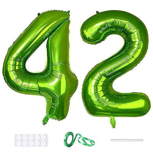 Xihuimay Globos numéricos 42 de 40 pulgadas de globo digital alfabeto 42 globos de cumpleaños dígito 42 globos de helio grandes globos para fiestas de bodas, despedidas de soltera, número verde 42