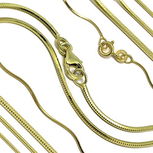 Goldkette Schlangenkette diamantiert Massiv 333 8Karat B: 0,70-1,20mm L: 40-50cm Echtgold Gelbgold Halskette hochwertiges Gold Collier für Damen Herren und Kinder (45, Breite: 1,20mm)