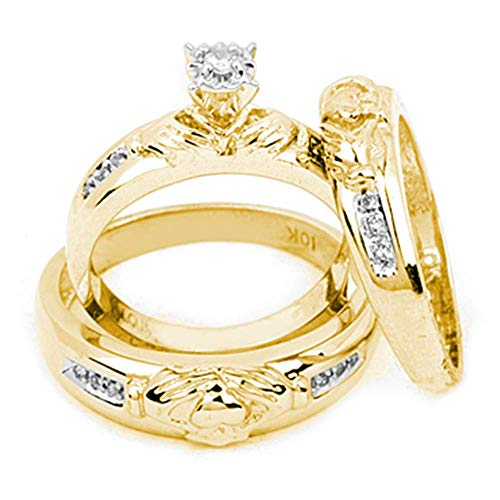 14ct Yellow Gold His & Hers Round Diamond Claddagh Matching Bridal Wedding Ring Band Set 1/8 Cttw for Women