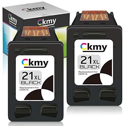CKMY Cartuchos de tinta remanufacturados para HP 21 XL 21XL (2 negros) para HP Deskjet 3910 3920 3930 PSC 1401 1402 1403 1406 OfficeJet 4315 5600 5610 FAX 1250 3180