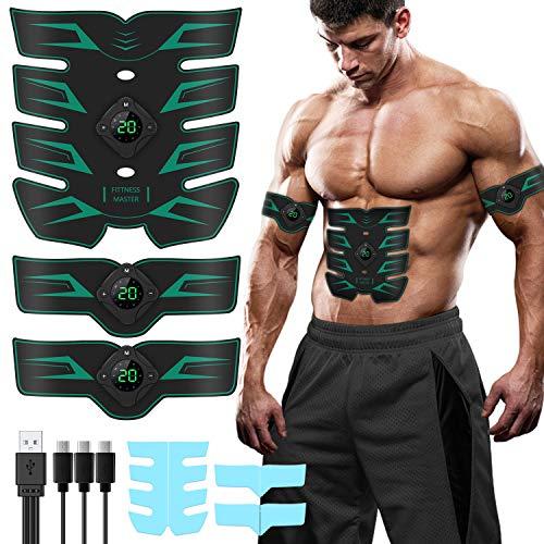 SUNGYIN EMS Muskelstimulator Bauchmuskeltrainer ABS Trainingsgerät für Männer Frauen, USB Elektrostimulation Fitness für Bauchmuskeln mit USB wiederaufladbar 10 Modi & 20 Stufen Betrieb