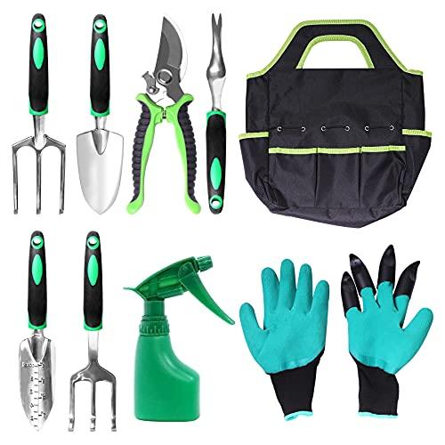 Juserox 9 Pieces Aluminum Heavy Duty Garden Tools Set with Non-Slip Ergonomic Handle,Include Storage Tote Bag,Weeder, Rake, Shovel, Trowel, for Men & Women(Green)
