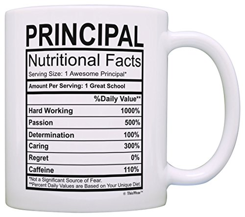Principal Gifts Principal Nutrional Facts Label Principal Appreciation Gift Coffee Mug Tea Cup White
