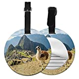 Lama and Machu Picchu Round Luggage tag Leather Pu Bendable Waterproof Tags Address Card Name Id Labels for Baggage Travel Bag