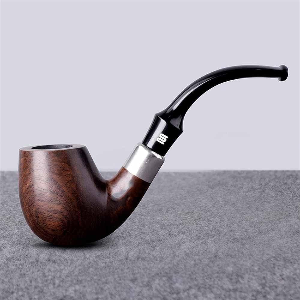 SSOLEREIT Pipa de Fumar de Madera Maciza Distinguida Pipa de cigarro Desmontable de Estilo Europeo para Hombres Tallada a Mano para Todos los Regalos de los Fumadores