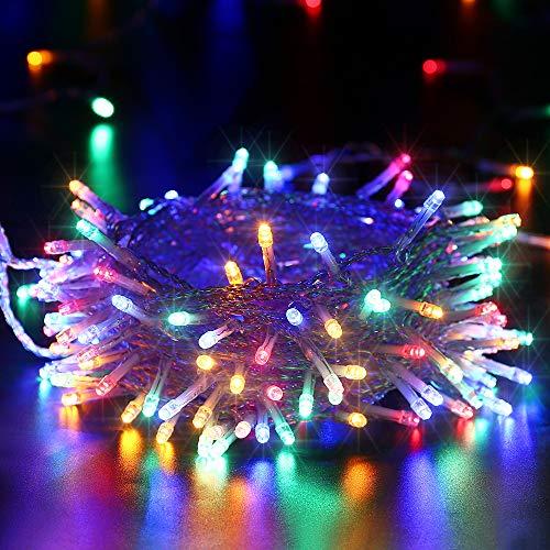 Qedertek Luci Natalizie a Batteria da Esterno, Catena Luminosa 12M 100 LED, Cavo Trasparente, Luci Stringa per Albero di Natale, Luci Colorate per Addobbi Natalizie