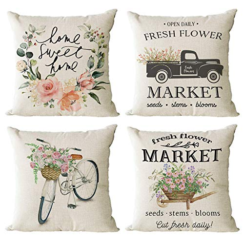 YeeJu Set of 4 Spring Market Decorative Throw Pillow Covers Farmhouse Floral Square Cotton Linen Cushion Covers Outdoor Couch Sofa Home Truck Bicycle Flower Pillow Cases 18x18 Inch
