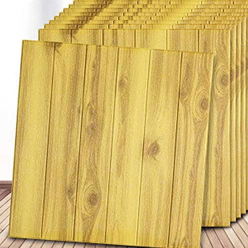 WSWJDW Pegatinas de pared 3D de grano de madera, paneles, papel tapiz autoadhesivo de espuma de PE para el fondo de la habitación, pegatinas de decoración del hogar anticolisión, 5,70 cm x 70 cm 10 p