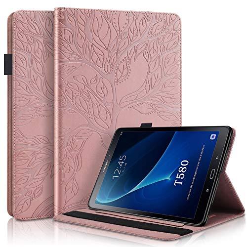 WHWOLF Adecuado para Samsung Galaxy Tab A 10.1 (2016) Funda SM-T580/ T585 Tableta Carcasa Hull Flip de Cuero PU Protectora Antichoque con Soporte de múltiples ángulos, Billetera-Oro Rosa
