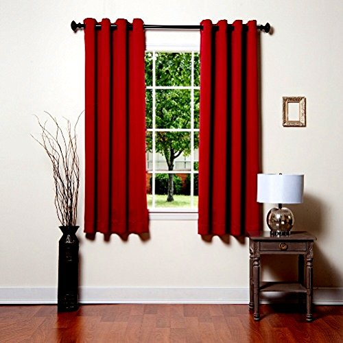 """Price comparison product image Gorgeous Home ( 32) 1 Panel Solid RED 63"""" Short Thermal Foam Lined Blackout Heavy Thick Window Curtain Drape Silver Grommets"""